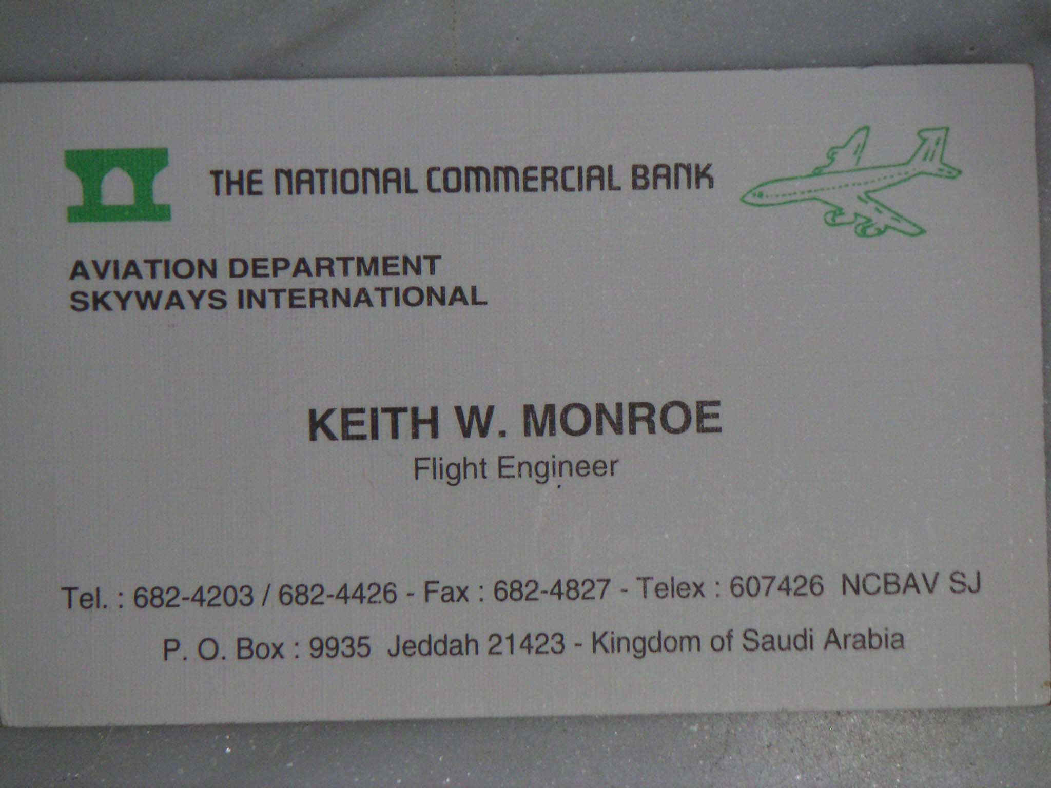 Mohammed atta and prince nayif the saudi drugs dealers who helped the business card for a flight engineer named keith monroe indicates that skyways international is a subsidiary of the national commercial bank magicingreecefo Image collections
