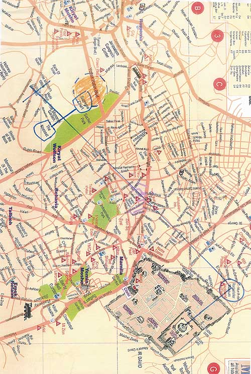 10- map of occult laylines in Israeli capital buildings extending into city...